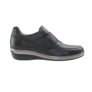 C24G11 Sapato de senhora ajustavel com velcro Comfy Varadero Preto 1