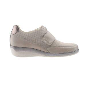 C24G15 Sapato de senhora ajustavel com velcro Comfy Varadero Taupe 1
