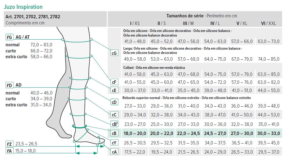 Tabela de medidas das meias Juzo Inspiration