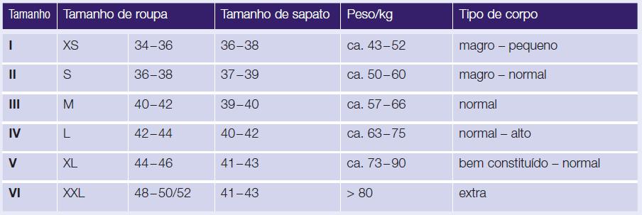 Calypso tamanhos