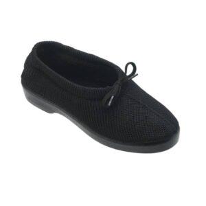 Sapato em malha com cordao e forro Optimum Pessego Preto 2